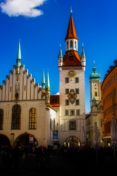 Munich's Old Town Hall, Altes Rathaus, was severely damaged in WWII, then rebuilt in the early 1970s.<br /> Photo © Cindy Clark