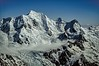 The magnificent east face of Mt Tasman in New Zealand's Southern Alps. The Silberhorn Ridge rises to the left of the summit and the Syme Ridge is on the right. <br /> Photo © Carl Clark
