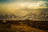 Mountains and volcanoes provide dramatic relief along Highway 1., Iceland.<br /> Photo © Cindy Clark