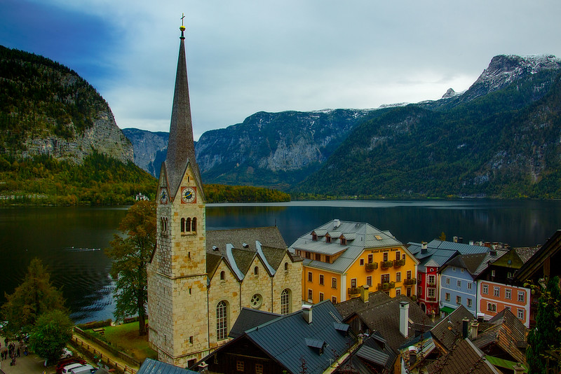 Evangelische Christuskirche dominates this view in Hallstatt, Austria.<br /> Photo © Carl Clark