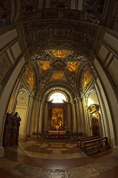 Light filters into an alcove at St Peter's Abbey in Salzburg.<br /> Photo © Carl Clark