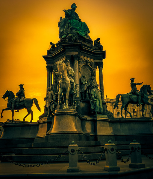 Statue of Empress Maria Theresa (1717-1780) at sunset in Vienna<br /> Photo © Cindy Clark