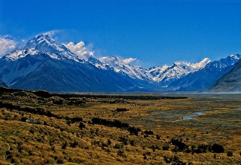 Wind buffeted Aoraki (Mt Cook) on the south island of New Zealand.<br /> Photo © Carl Clark