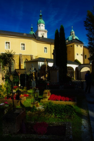 Colorful flowers in St Peter's cemetery in Salzburg.<br /> Photo © Carl Clark