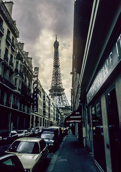 The Eiffel Tower looms above the Rue de Monttessuy in Paris.<br /> Photo © Carl Clark