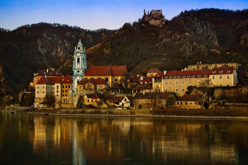The Durnstein Abbey established in 1410, and rebuilt in 1710.  Wachau Valley, Austria.<br /> © Cindy Clark