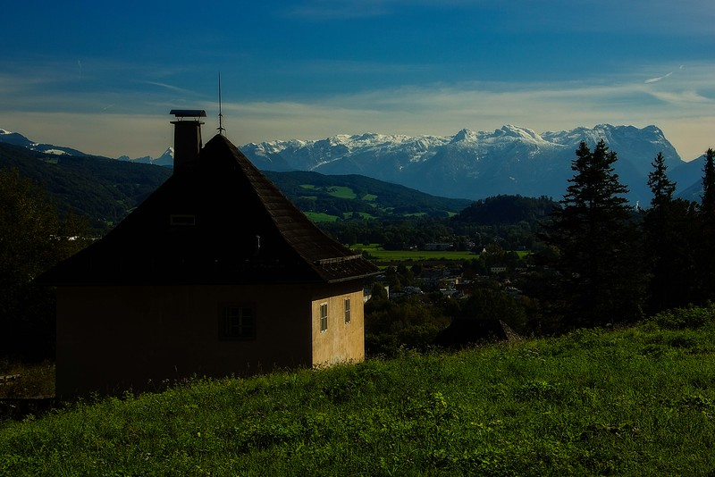Looking toward the Alps from the short trail to Richterhöhe, part of the Salzburg Fortress.<br /> Photo © Carl Clark