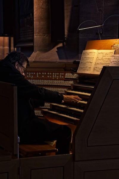 The organist at work in St. Lorenz cathedral in Nuremburg.<br /> Photo © Carl Clark