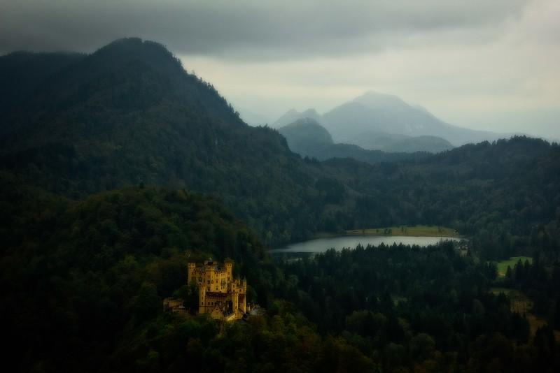 Moody weather over Hohenschwangau Castle in Füssen, Germany.<br /> Photo © Carl Clark