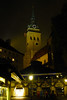 Evening lights on St Peters Church (Kirche St. Peter) in Marenplatz in Munich.<br /> Photo © Carl Clark
