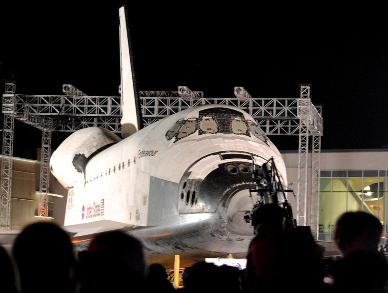 Endeavour on its Way to The California Science Center in Los Angeles CA
