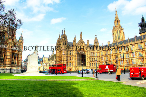 The Palace of Westminster with the Statue of King George III and Westminster Abby.