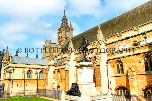 The Palace of Westminster with Elizabeth Tower and Oliver Cromwell's Tomb.