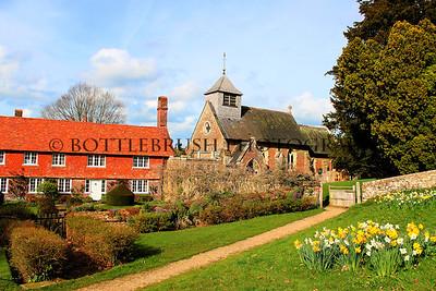 English Countryside Farmhouse and Church.