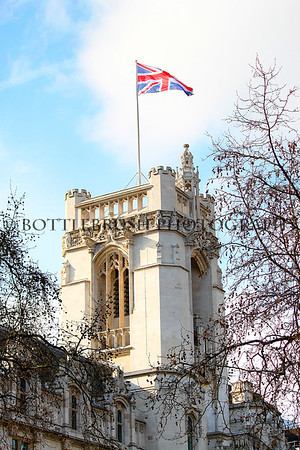 Westminster Abby with the Union Jack flying high, London, England.