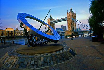 London Tower Bridge and Sundial