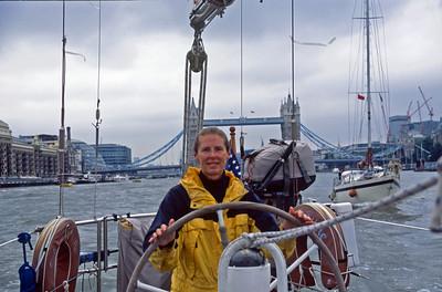 Cloud Nine sailing down Thames, London Tower Bridge up river