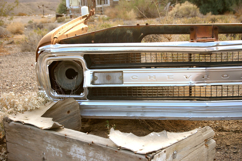 Abandoned truck parts in the desert- Tecopa, CA