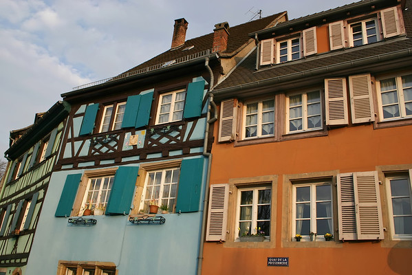 """Colorful houses in """"Little Venice"""" section of Colmar, France."""
