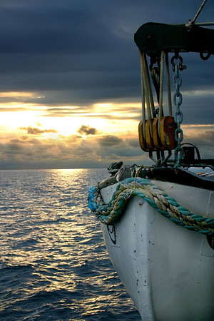 A lifeboat at sea on the open ocean, taken at sunset- Pacific Ocean off Costa Rica