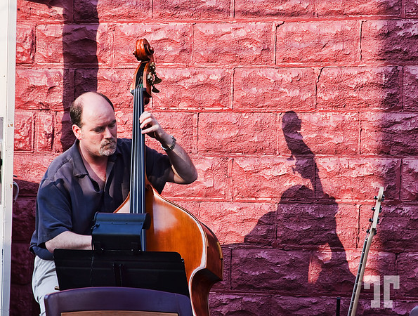 July 20, 09<br /> <br /> Contrabass player on a restaurant terrace