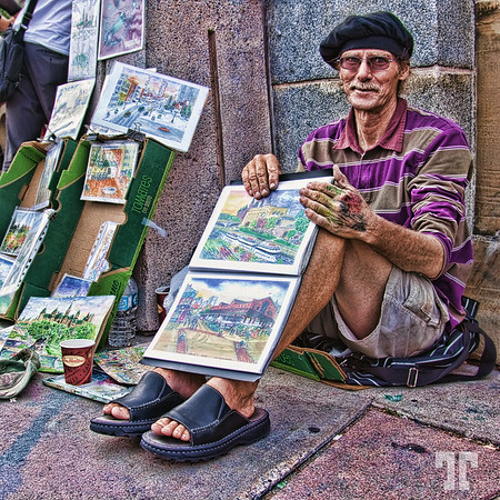 """August 10, 09<br /> <br /> Street artist<br /> <br /> - I made this my entry for the DGrin contest #30: """"Environmental Portrait""""<br /> <br /> What do you think?"""