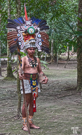 Posted: June 29, 2012<br /> <br /> Mayan dressed for ceremony, in the jungle surrounding the pyramids of Tikal, Guatemala<br /> <br /> BTW: Where will you be spending the end of the world event? Tikal Mayan Ruins