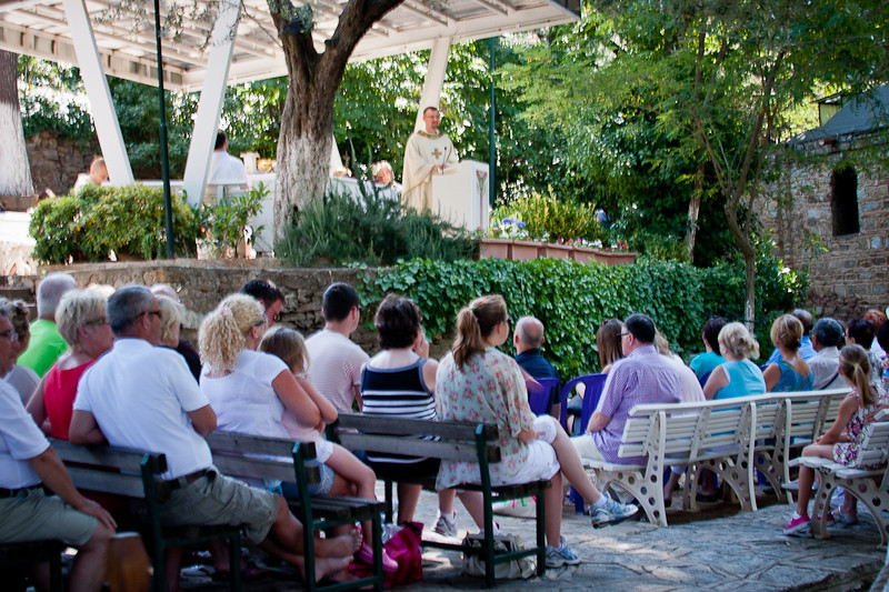 Service in progress at the House of the Virgin Mary near Ephesus