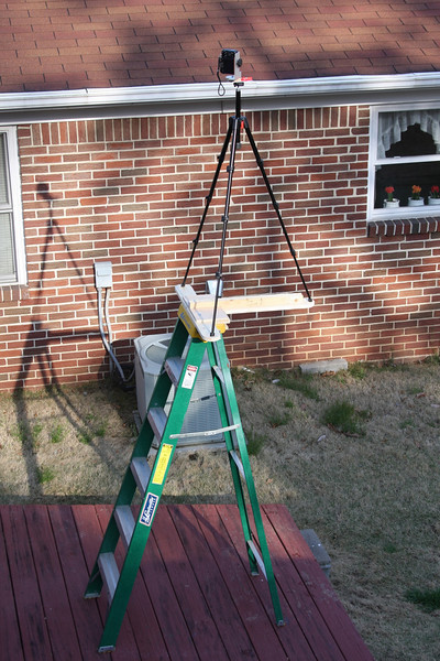 T-mount for top of ladder. I used this for the panos at Southern Museum of Flight where they have a 7 ft fence.