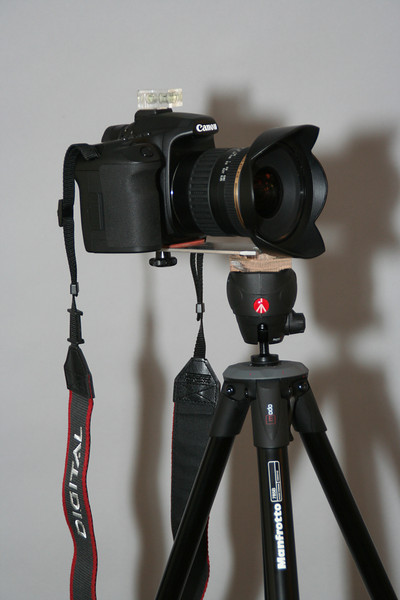 When traveling it is necessary to have something light even if it is not ideal. This bracket fits a Manfrotto 785B tripod. Canon 40D with Tamron 11-18mm Three images at 11mm covers almost 270°
