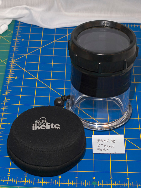 "Like-New Ikelite #5505.58 flat port for lenses less than 6.1"" long. Fits long zooms and macro lenses from Nikon, Canon, Sony, Olympus, Sigma, Tamron, Tokina and Minolta- Buy it for $95 + shipping ($150 MSRP, $141 best retail)"