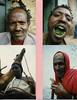 Portraits from Harar, Ethiopia, Top right is a man chewing chat ( Also spelled kat or qut)