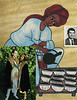 Etsegent Asamere and Andy Goldman 1991 (bottom) Carlo Iori Passport Picture. The backgroudn is a painting of an Ethiopian woman making the traditonal coffee ceremony