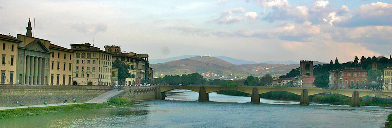 Tuscan hills and River Arno- Florence