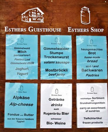 Ester's Guesthouse menu- Gimmewald
