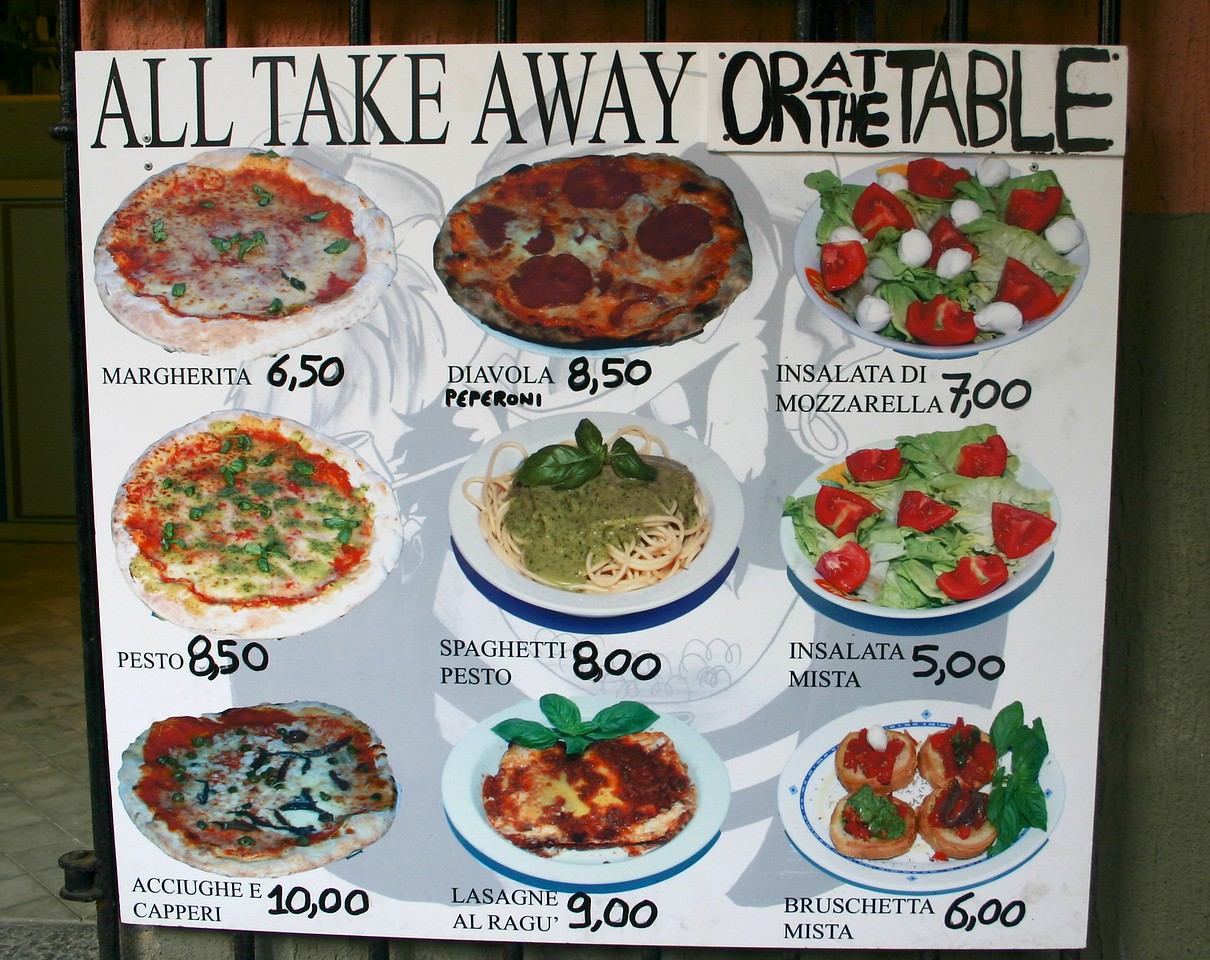 great pizza and pasta in Vernazza