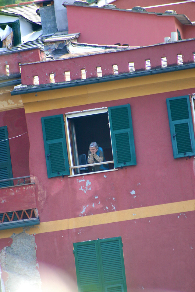 Vernazza resident watching the action