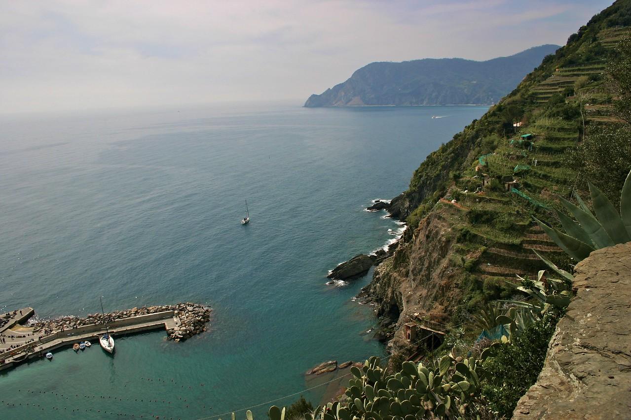 view north along the Cinque Terre