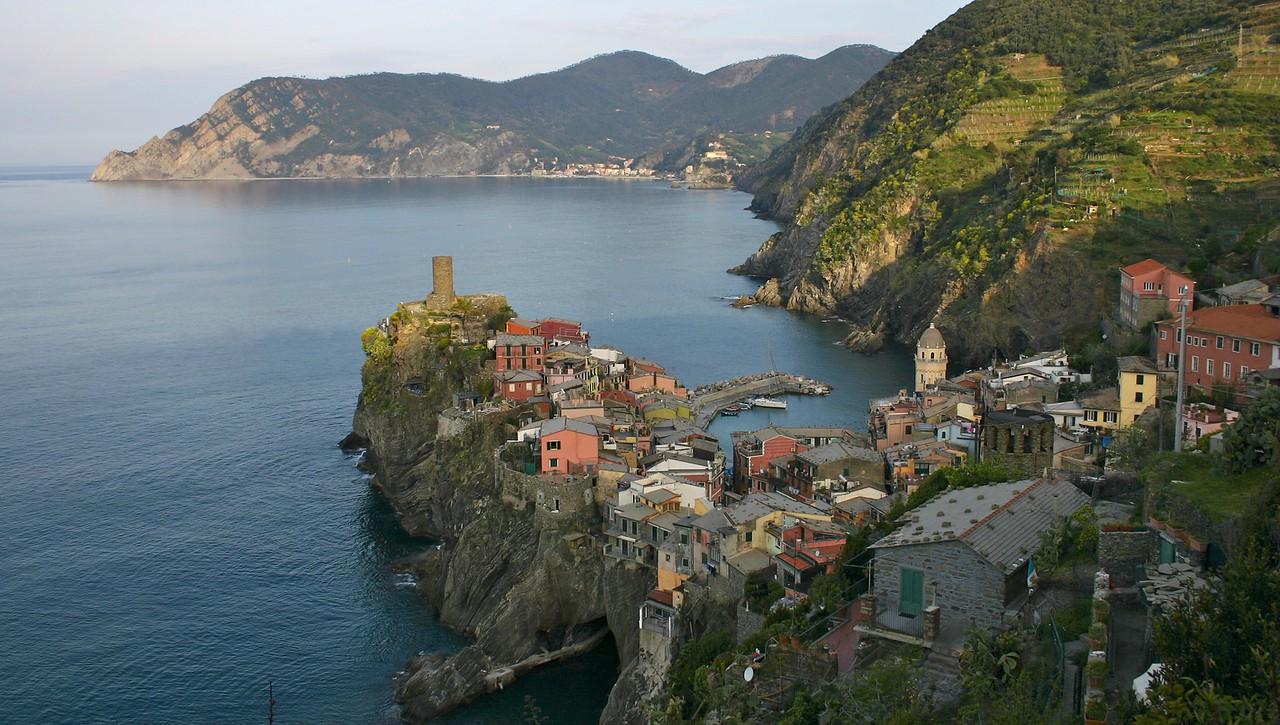 Vernazza, Italy from trail to Corniglia
