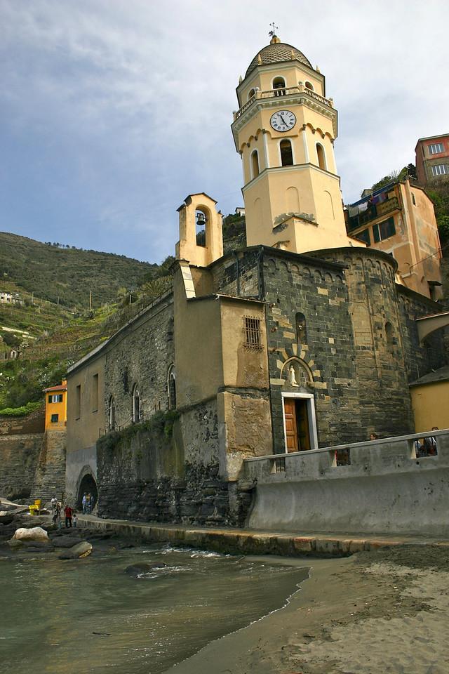 Vernazza church from the beach