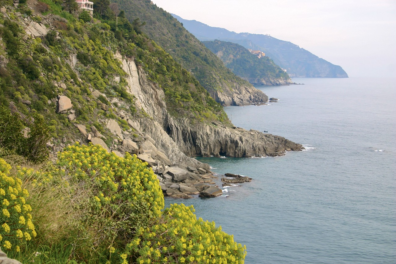 view south along Cinque Terre