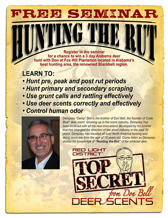 "(C) Top Secret Deer Scents On Thursday August 30th, 2012 Demp Bell presented Top Secret Deer Scents during a promotion at Posted Hunting and Fishing located in Lawrenceburg, Tennessee. We had a great time and took away some much needed info on ""Hunting the Rut!"". Posted will host the 2013 Seminar on Thursday August 30th, 2013 at 6:00 pm. See ya there!! Photography By Lloyd Kenney III (C) 2012 All Rights Reserved."