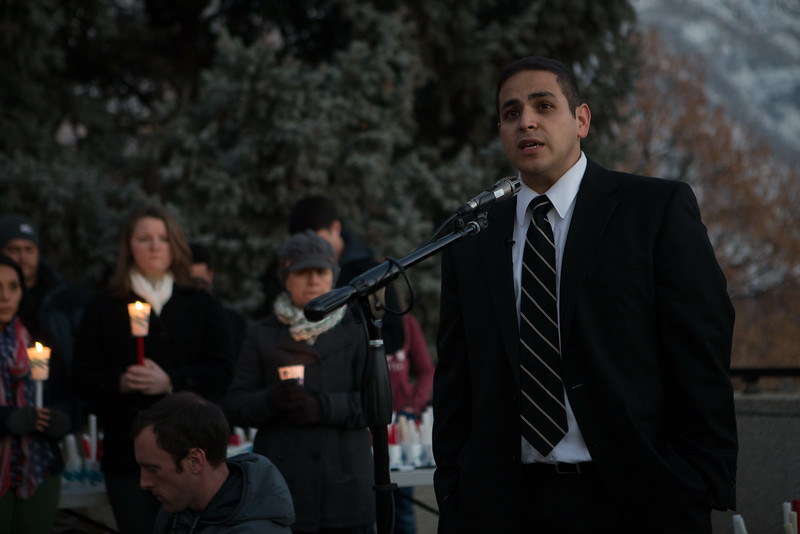 1401-26 097  1401-26 MLK Martin Luther King Walk of Life  Candle light walk from bell tower to Wilkinsons center  January 20, 2014  Photo by Todd Wakefield/BYU  Copyright BYU Photo 2013 All Rights Reserved photo@byu.edu   (801)422-7322