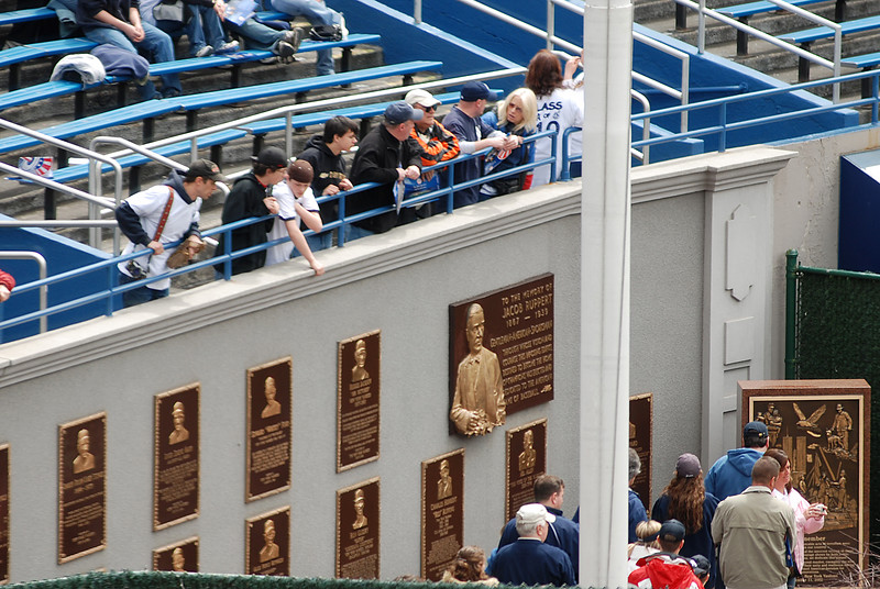 Among the Stadium's most notable features is Monument Park, where numerous monuments and plaques have been built to honor Yankee greats. Up until the 1970s the monuments were in fair play, but they now take up residence behind the left-center field fence between the bullpens.