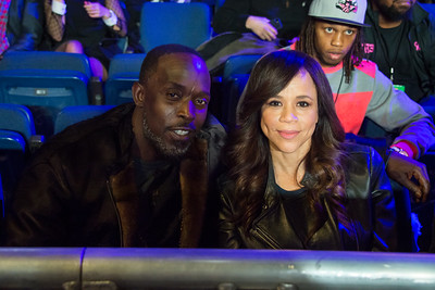 NEW YORK, NY - JANUARY 09:  Michael K Williams (L) and Rosie Perez attend 2015 Throne Boxing Fight Night at The Theater at Madison Square Garden on January 9, 2015 in New York City. (Photo BleacherCreatures.tv/Corbis)