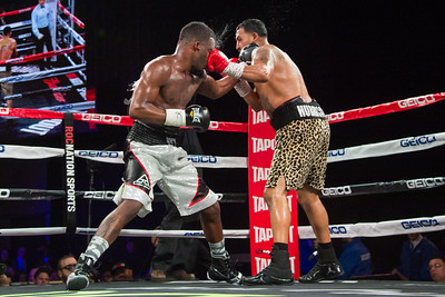NEW YORK, NY - JANUARY 09:  Andrew Hernandez (leopard shorts) battles Jerry Odom (white shorts) during 2015 Throne Boxing Fight Night at The Theater at Madison Square Garden on January 9, 2015 in New York City. (Photo BleacherCreatures.tv/Corbis)