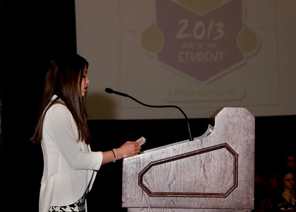 Hayley Stromberg addresses the crowd about the 2013: Year of the Student Project