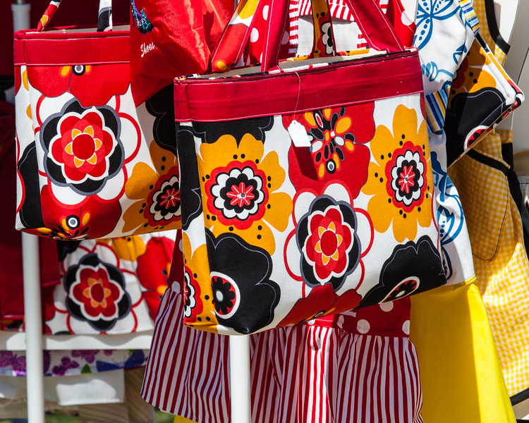 There were some vendors there and this one had some colorful bags on display...