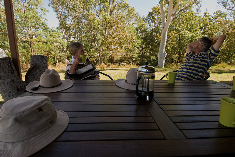 Dell, Andy, hats and coffee at Mornington Wilderness Camp