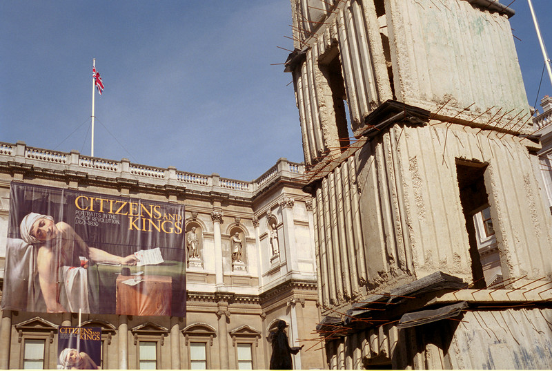 One of Anselm Kiefer's Jericho towers in the courtyard of Burlington House.